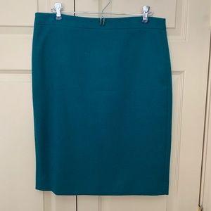 J. Crew teal wool pencil skirt